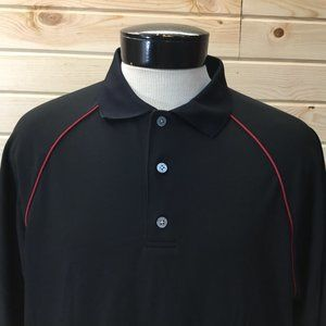 Footjoy Golf Polo L Black with Red Stripes